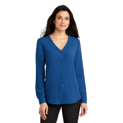 LW700 PA Ladies Long Sleeve Button-Front Blouse